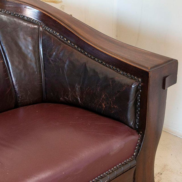 Brown Vintage Leather Sofa and Arm Chairs - Set of 3 For Sale - Image 8 of 11