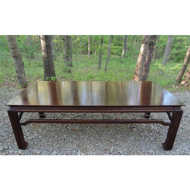 Mid Century Quartersawn Oak Chinoiserie Coffee Table For Sale - Image 4 of 13