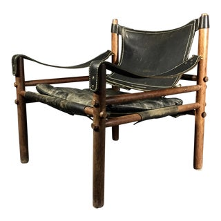 "Arne Norell ""Scirocco"" Safari Chair, Leather & Rosewood, Sweden For Sale"