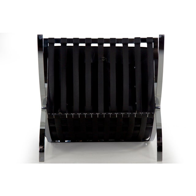Mid Century Modern Black Leather and Chrome Steel Barcelona Chair, Circa 21st Century For Sale - Image 12 of 13