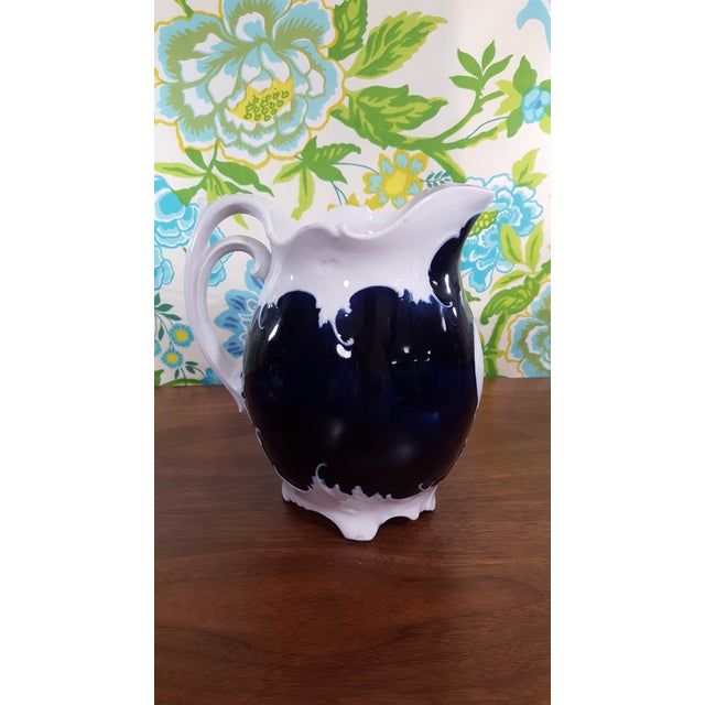 Blue Antique Victorian Era Cobalt Blue and Bone White China Water Pitcher and Chamber Pot - Wave Like Detailing For Sale - Image 8 of 13