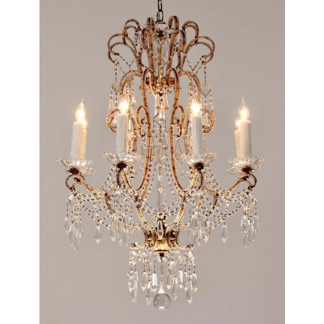 French 1940s Italian Crystal Beaded Chandelier For Sale - Image 3 of 9