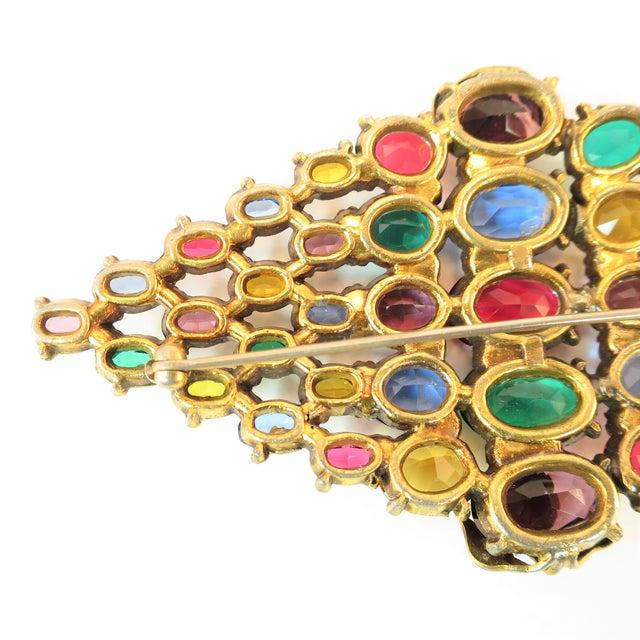 Czech Art Deco Jewel-Tone Bohemian Crystal Brooch 1920s For Sale - Image 10 of 12