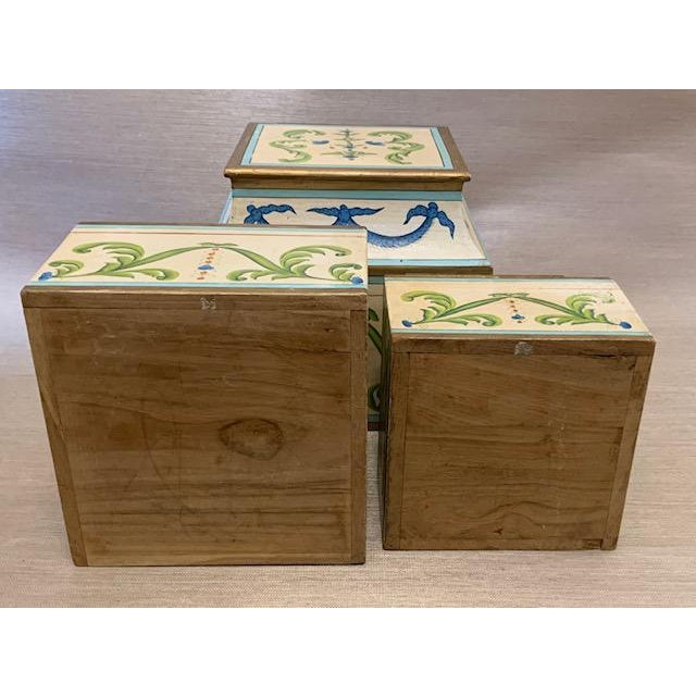Antique Italian Leaves and Swags Painted Boxes - Set of 3 For Sale - Image 10 of 11