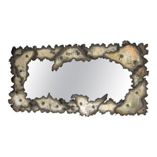 Brutalist Torch-Cut Metal Wall Mirror For Sale