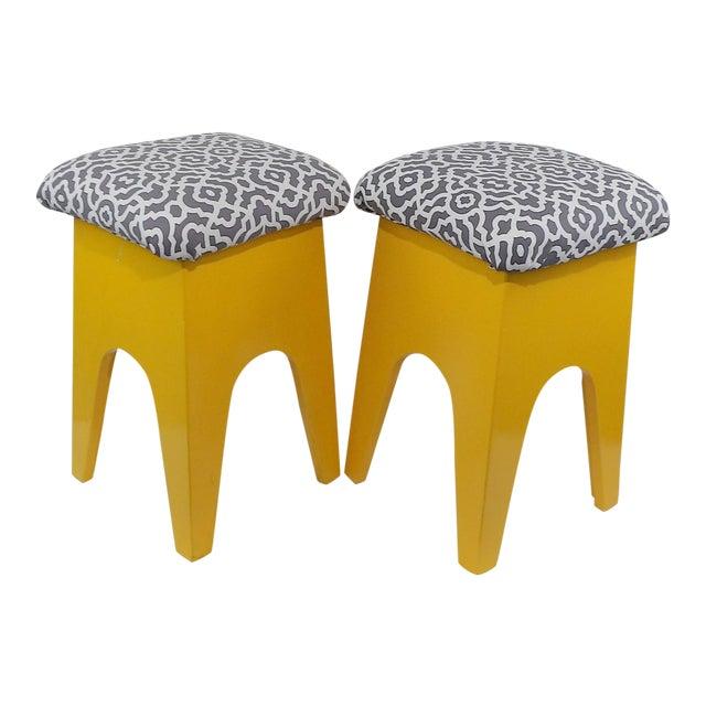 Mid-Century Modern Marigold Geometric Pattern Stools - A Pair - Image 1 of 8