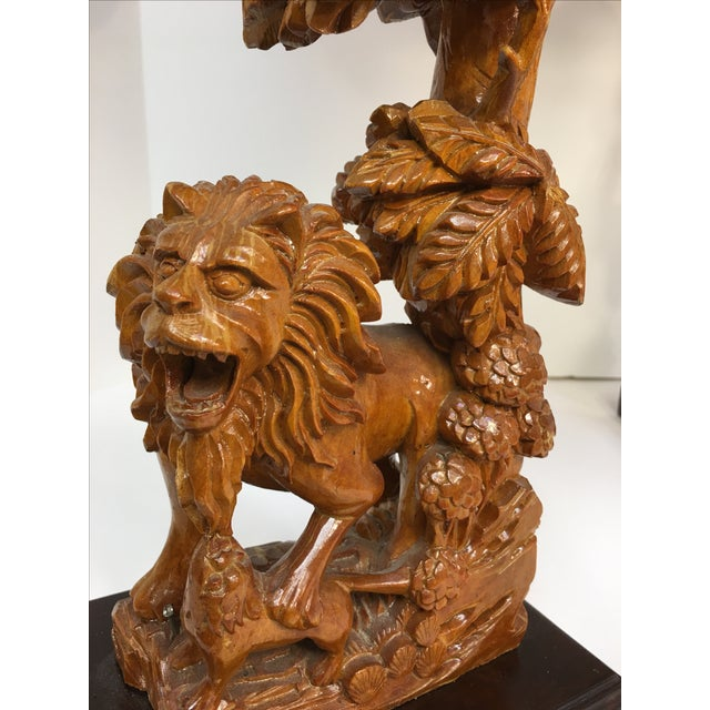 Carved Wood Lion Table Lamps - A Pair - Image 11 of 11