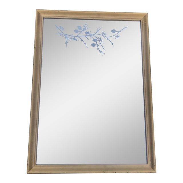 1950s Gilded Etched Glass Mirror. Must See! Mid Century Branches Etching. For Sale