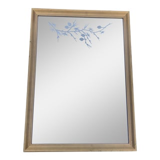 1950s Traditional Gilded Etched Glass Mirror For Sale