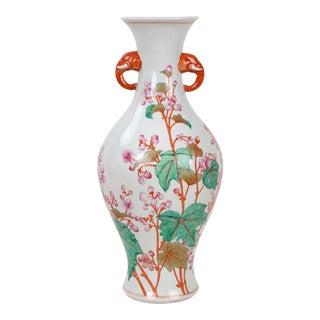 Vintage Famille Rose Amphora Vase With Peach Blossom Design, Elephant Handles For Sale