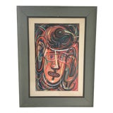 """Image of Vintage Mid-Century Abstract Expressionism Original """"Face Gamble"""" Oil Painting For Sale"""
