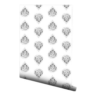 Gray Floral Boteh Pre-Pasted Wallpaper Double Roll