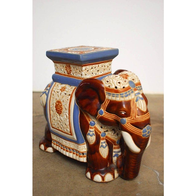 Ceramic Elephant Garden Stools or Drink Tables - A Pair - Image 5 of 11