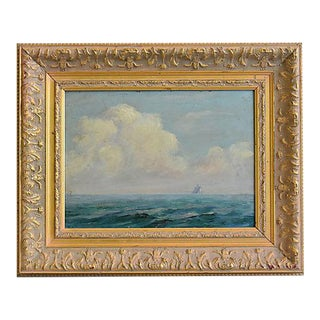 Early 1900s George Johnson, Ship & Clouds Seascape Oil Painting