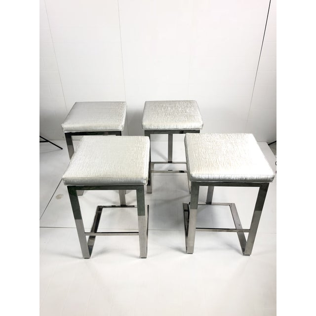 Contemporary Century Furniture Stainless Steel Bar Stools - Set of 4 For Sale - Image 10 of 10