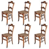 Image of 1885 Antique Oak Ornate Dining Chairs With Rush Seats - Set of 6 For Sale