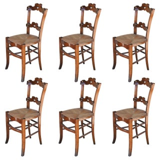 1885 Antique Oak Ornate Dining Chairs With Rush Seats - Set of 6 For Sale