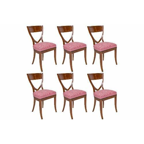 A Set of Six Biedermeier Mahogany Shield Back Dining Chairs with Seats Upholstered in Rouge Dudley Fabric designed by...