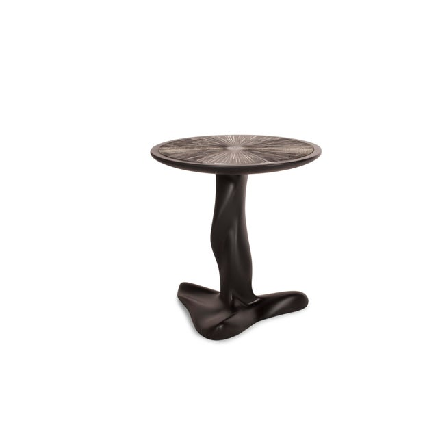 Amorph Helios Side Table in Back Matte Lacquer With Silver Leaves Gilding For Sale In Los Angeles - Image 6 of 7
