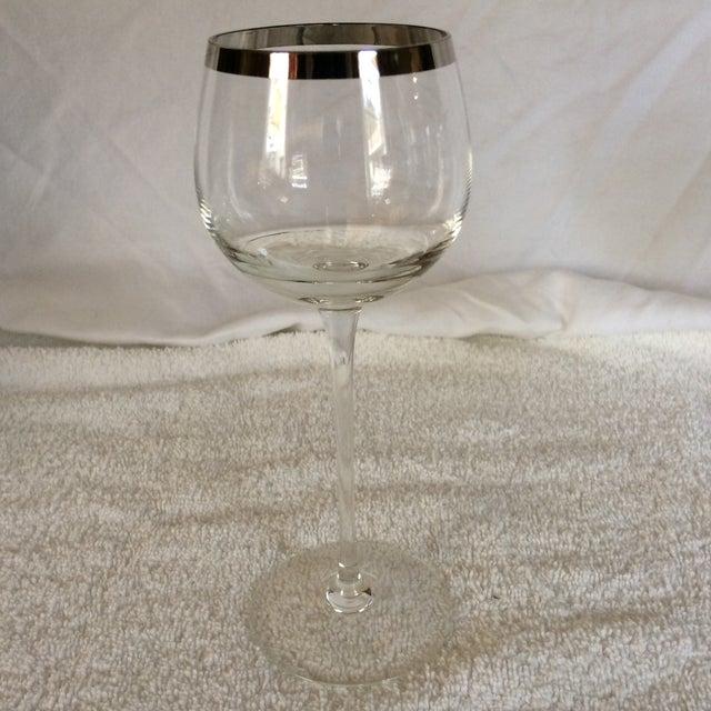 1960s Tall Vintage Crystal Platinum Rim Wine Glasses - Set of 6 For Sale - Image 5 of 13