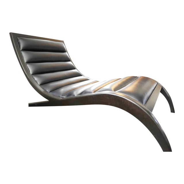 Cerused Walnut & Navy Leather Chaise - Image 1 of 4