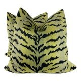 """Image of Scalamandre """"Tigre Greens &Black"""" 22"""" Pillows-A Pair For Sale"""