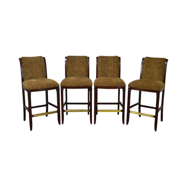 Drexel Mahogany Frame & Upholstered Bar Stools - Set of 4 - Image 1 of 10