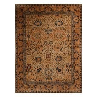 "1910s Antique Tabriz Golden-Brown Wool Rug-8'8'x11'9"" For Sale"