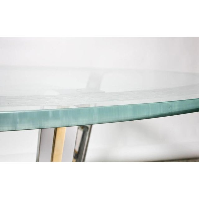 1980s Art Deco Revival Round Dining or Center Table, Chrome & Brass, by Karl Springer For Sale - Image 5 of 11