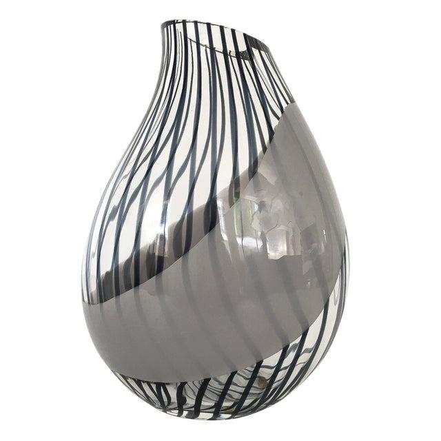 Livio Seguso Striped Murano Art Glass Vase For Sale