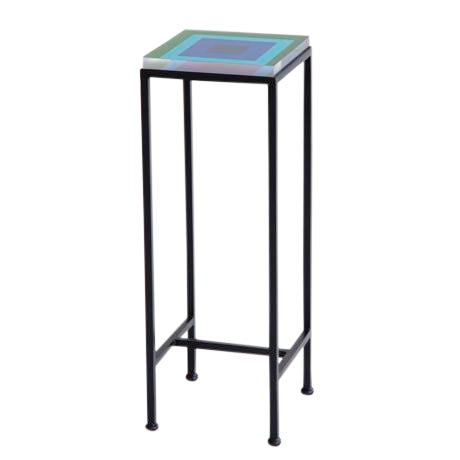Contemporary Ellsworth Acrylic Drinks Table – Base: European Blue, Top: Squares Hunter/Sky For Sale