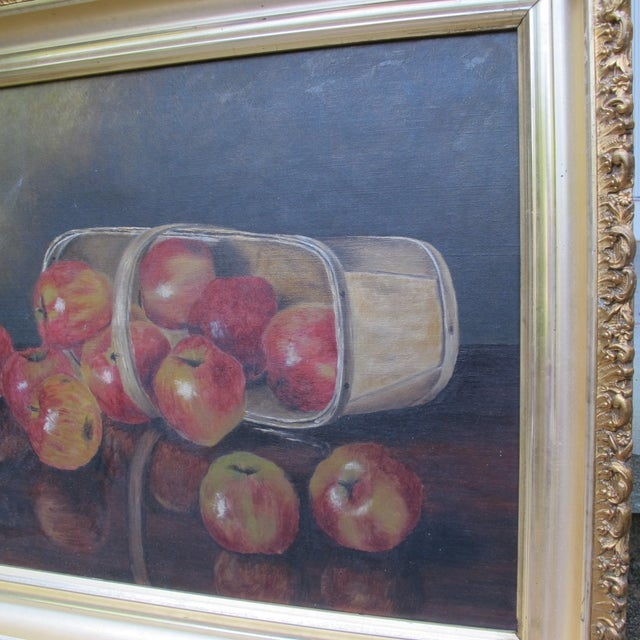 """""""Basket of Apples"""", Oil Painting on Canvas - Image 4 of 8"""