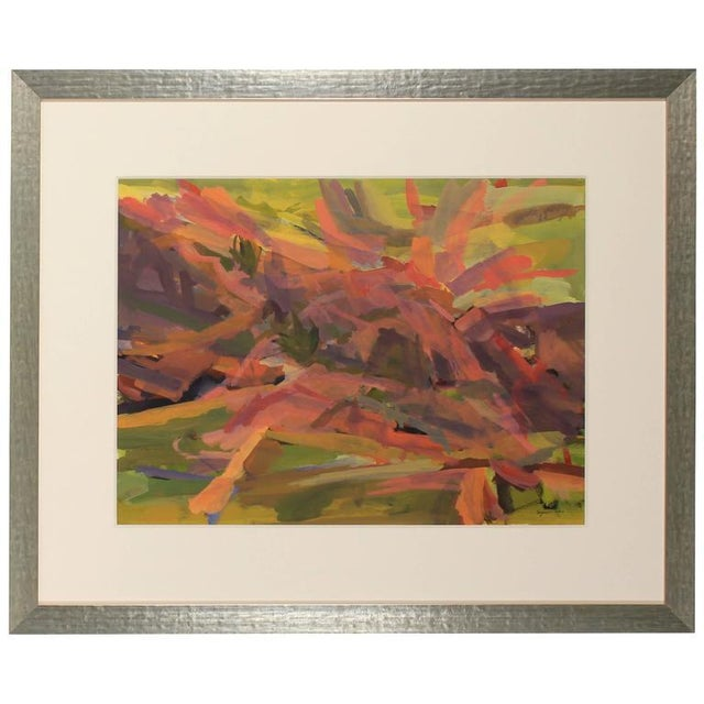 Modern Bright Abstracted Landscape For Sale - Image 3 of 4
