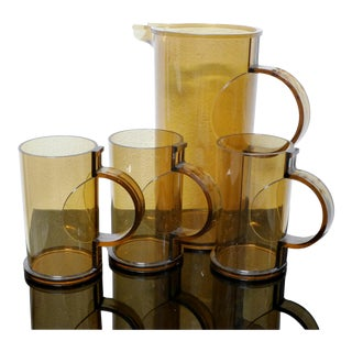 Gunnar Cyren Dansk-Designs-Denmark Lucite Pitcher and Cup Set For Sale