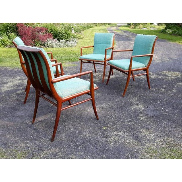Mid-Century Modern Vintage Mid Century T.H. Robsjohn Gibbings for Widdicomb Saber Leg Armchairs- Set of 4 For Sale - Image 3 of 13