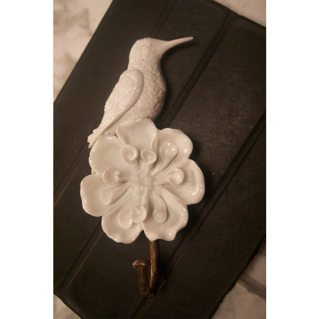 Porcelain & Brass Birds Wall Mount Hooks - Pair - Image 4 of 11