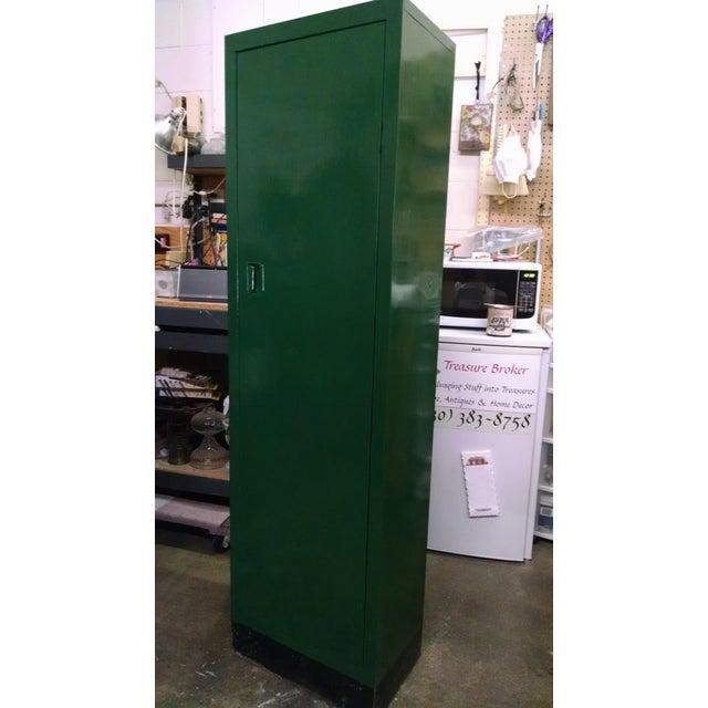 Green Vintage Metal Industrial Storage Locker For Sale - Image 8 of 8