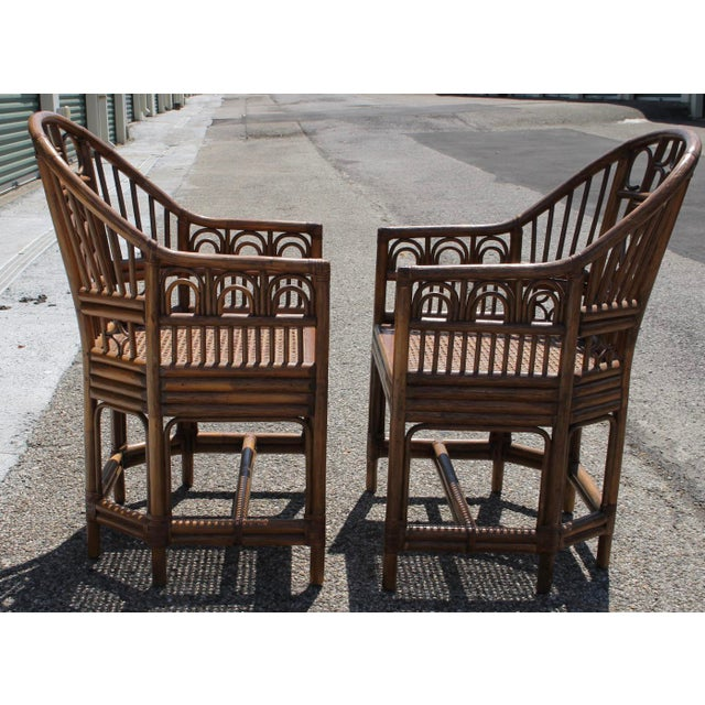 Chinoiserie Bamboo Rattan Brighton Pavilion Chairs With Caning- a Pair For Sale - Image 10 of 11