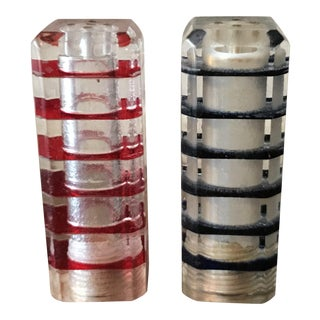 Vintage Lucite Cube Tower Shakers - A Pair