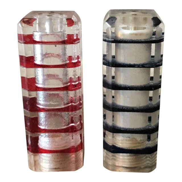 Vintage Lucite Cube Tower Shakers - A Pair For Sale