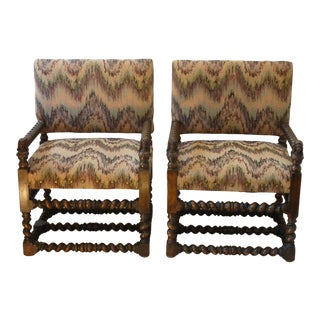 19th Century Barley Twist Armchairs- A Pair For Sale