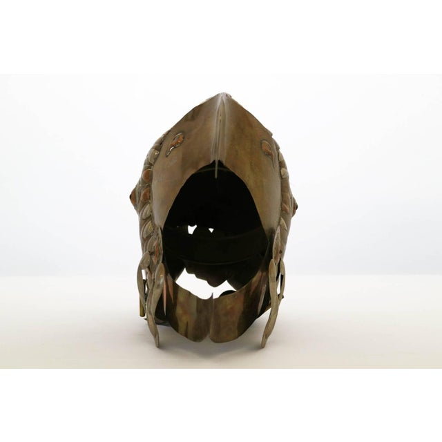 Sergio Bustamante brass and coper soldered decorative helmet.
