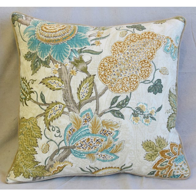 """French Jacobean Floral Feather/Down Pillows 24"""" Square - Pair For Sale - Image 4 of 13"""