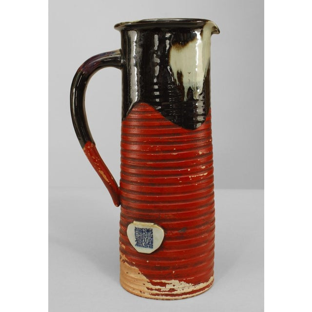 Asian Japanese Meiji Period Red and Black Glazed Terra Cotta Pitcher For Sale - Image 4 of 6