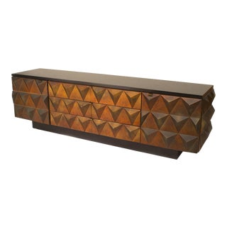 Low 1960s Italian Copper Pyramid Sideboard For Sale