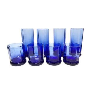 Anchor Hocking Cobalt Blue Essex Pattern Glasses - Set of 8 For Sale