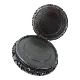 """Vintage Chinese Asian Round Carved Rosewood Display Stands / Pedestals - a Pair 9""""/7"""" For Sale"""