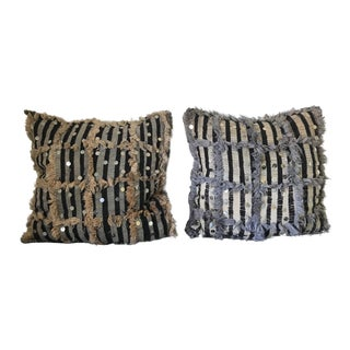Vintage Moroccan Sequin Berber Throw Pillows - a Pair