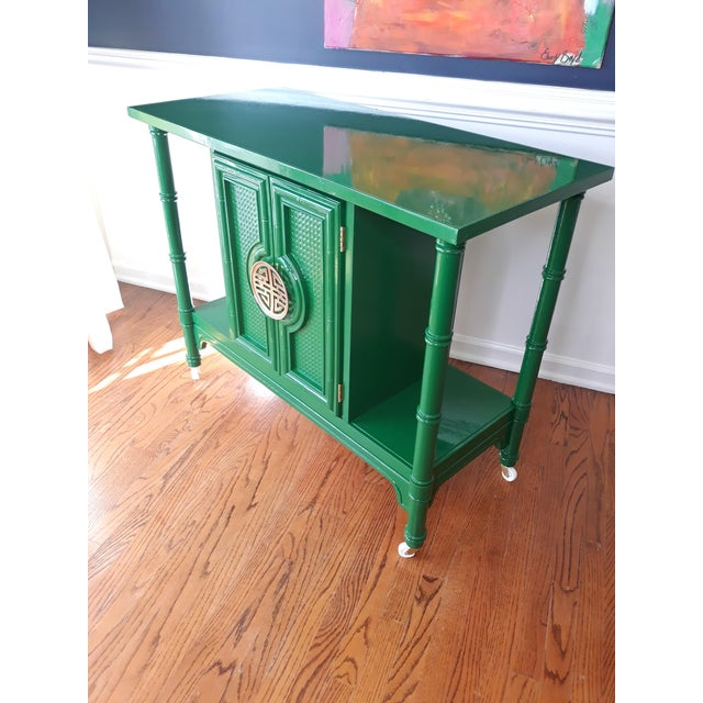 Hollywood Regency Lacquered Green Faux Bamboo Bar Cart For Sale - Image 10 of 13