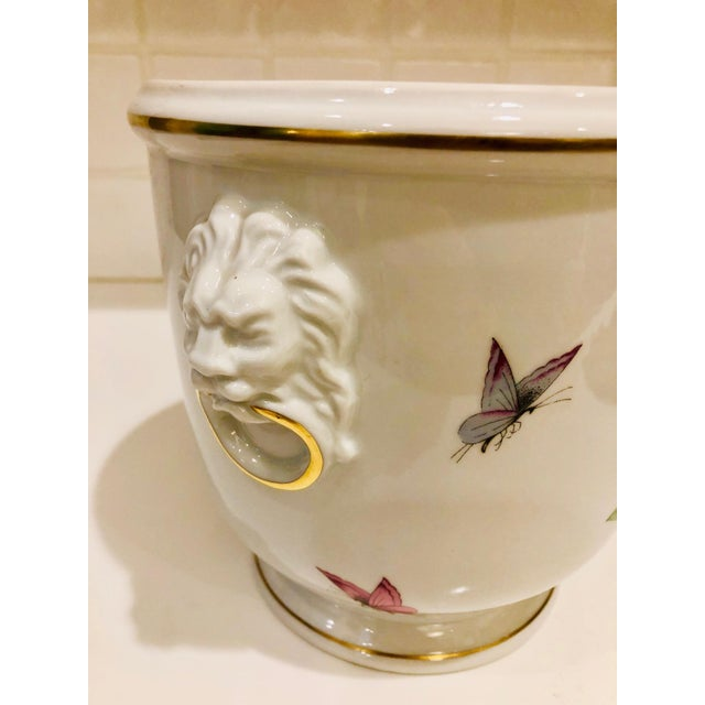 Limoges, France 1930s Limoges Butterflies and Lion's Head Cachepot For Sale - Image 4 of 13